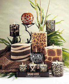 Safari Lights Scented Animal Print Candles - Easy way to add some animal prints into your room. Safari Home Decor, Safari Decorations, Safari Theme, African Interior Design, African Design, Animal Print Decor, Animal Prints, African Living Rooms, Safari Bedroom