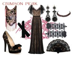 """Indulge Your Dark Side with Crimson Peak : Contest Entry"" by katesparrow21 ❤ liked on Polyvore featuring Notte by Marchesa, Fendi and vintage"