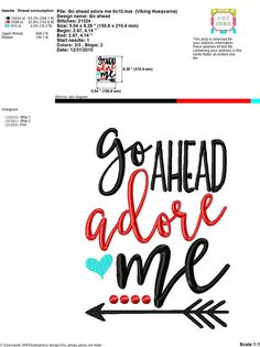 Embroidery design 5x7 6x10 Go ahead adore me by SoCuteAppliques