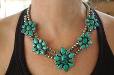 Vintage Necklace   B Johnson (Navajo). Sterling silver and turquoise.