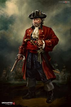 Henry Every was a notorious pirate with many different aliases. These aliases include Long Ben, Benjamin Bridgeman, and John Avery. Henry Every was Uncharted 4 Sam, Uncharted Series, Character Concept, Character Art, Concept Art, Character Design, Character Ideas, Pirate Art, Pirate Life