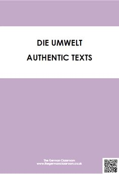 Booklet of authentic texts with reading comprehension questions on the topic of environment. Good for GCSE German!