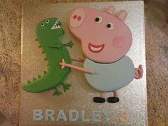 Peppa Pig cake for boys ! 3rd Birthday Cakes, 2nd Birthday Parties, Pig Birthday, Birthday Ideas, Third Birthday, George Pig Cake, George Pig Party, Peppa Pig Dinosaur, Dinosaur Cake