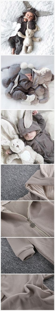 3-24Months Unisex Grey Baby Infant Toddler's Boy Girl Cute Rabbit Ears Hooded Jumpsuit For Autumn