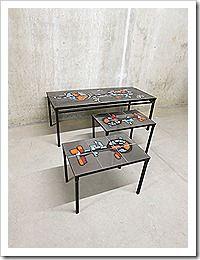 Vintage salontafel tegeltafel coffee table tile table Belarti