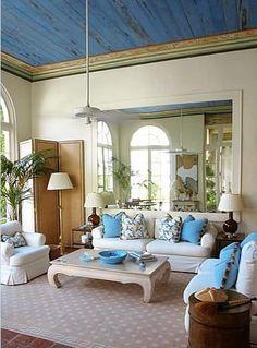 Blue ceiling French+Blue+Ceiling+Meg+Braff+.jpeg (363×491) imagine gilt trim against distressed french blue ceiling....
