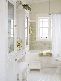 150 Amazing Small Farmhouse Bathroom Decor Ideas And Remodel – Home Design Small Cottage Bathrooms, Cottage Bathroom Design Ideas, Bathroom Inspiration, Small Bathroom, Bathroom Ideas, Master Bathroom, Bathroom Green, Bathroom Designs, Cozy Bathroom