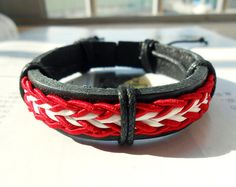 Cool Red and white elastic cotton rope Black Leather Cuff Adjustable Bracelet C-48