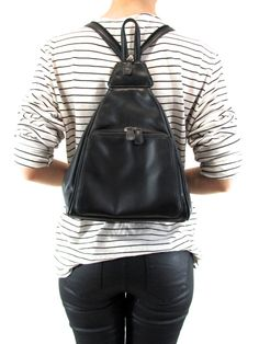 leather small triangular backpack