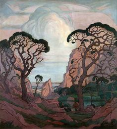 Jacobus Hendrik Pierneef Landscape Illustration, Landscape Art, Bonsai Art, South African Artists, Painter Artist, Fairytale Art, Mural Painting, Surreal Art, Art And Architecture