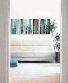 Paysage abstrait peinture - rayé Turquoise panneaux - acrylique Art moderne - 59,1 « x 19,7 » Ronald Hunter peintures on Etsy, 459,18 $ CAD