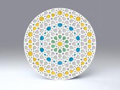 Arabesque • arabisches Radial-Ornament • freistehende, runde Falt-Karte für Standardkuverts • Solla - cc023.04 • #rund #Karte #radial #arabisch #Dekoration #Papier www.centuryo.com