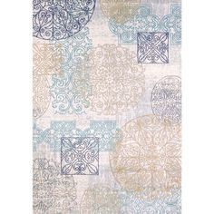 This Tranqulity Vintage Sea Medallion area rug will add a stylish touch of color to your transitional or contemporary decorating theme. It's beautiful tones of blue, natural, greys and tan blend well with leather as well as fabric.