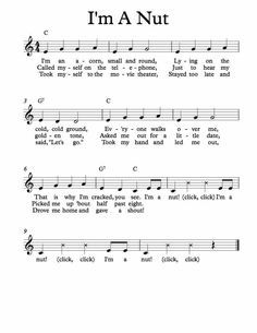 Free Sheet Music for I'm A Nut. Children's Song. Silly Songs, Songs To Sing, Kids Songs, Preschool Music, Music Activities, Children Activities, Homeschool Kindergarten, Teaching Music, Preschool Ideas