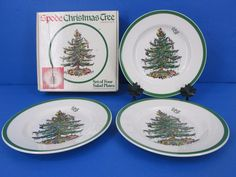 SPODE Christmas Tree 8 Inch Salad Lunch Plates 3 In Original Box  #Spode