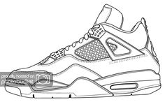 Basketball Shoes Coloring Pages from Basketball Coloring Page. What color is the basketball? Basketballs are usually red-brown. In the category Basketball, you will find different motifs about sports to print and . Sketch Manga, Sneakers Sketch, Shoe Template, Jordan Retro 4, Jordan Iv, Shoe Sketches, Sneaker Art, Shoe Art, Sport Outfits