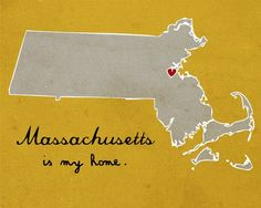 wish this said indiana I Heart Massachusetts - 8 x 10 - Illustration Print by Nan Lawson
