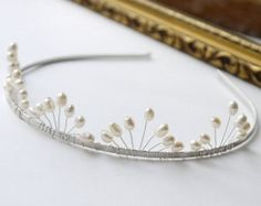 freshwater ivory pearl tiara rice and round pearl by PearlsByTabs