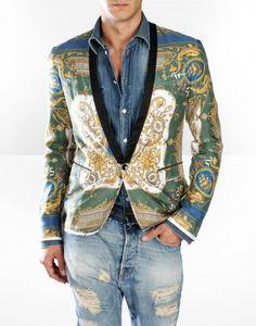 D G mens green twill blazer 1
