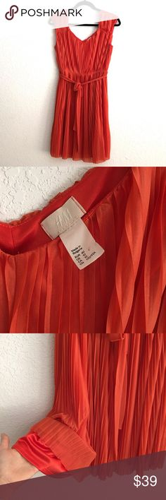 NWOT Very Cute V Neck Dress Very excellent condition. Very cute H&M orange dress! Beautiful V neckline in front and back!  Love the color it is just right! Very nice lining underneath. The dress overall is so airy and light! Very fresh looking for Summer. Got it from Germany. Made in Bulgaria H&M Dresses