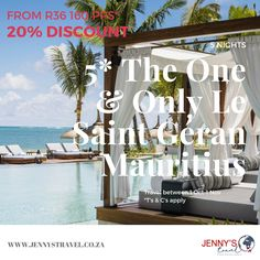 Save 20% at the spectacular One & Only Le Saint Geran in Mauritius. From only R36 160 pps*  Included: 5 nights accommodation in a Lagoon room Bed & breakfast Daily entertainment All land  & non motorized water sport as stipulated Return flights from Johannesburg Private return transfers Approx taxes, levies and surgarges  Travel: 1 Oct-1 November 2020* Contact us to find out more or to book on info@jennystravel.co.za or 012 347 8891 *T's & C's apply Oct 1, November, Travel Specials, Mauritius, One And Only, Saint, How To Find Out, How To Apply, Entertainment