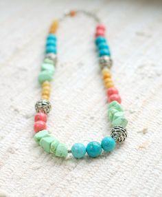 Color block necklace  blue mint pink necklace by DosMadamas, $18.00