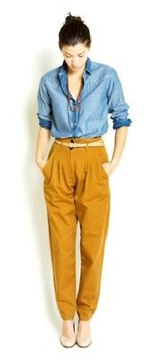 Mustard tapered pants.