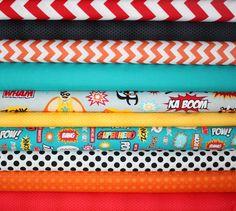 Superhero quilt bundle by Illustration Ink for by fabricshoppe
