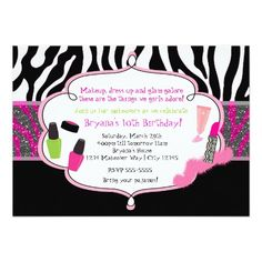 Glamour girls makeup birthday party invitations birthday ideas makeup makeover zebra birthday party invitation stopboris Images