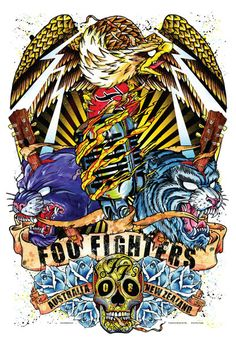 Rhys Cooper - Foo Fighters - Classic rock music concert psychedelic poster ~ ☮~ღ~*~*✿⊱  レ o √ 乇 !! ~