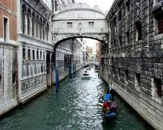 The Bridge of Sighs in Venice. The bridge got its name from the implication that prisoners, seeing Venice for the last time, sighed on their way to their cells.