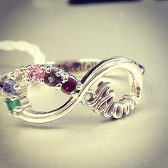Tag a mom who deserves this AMAZING one of a kind 2-10 Stone Mom's Infinite Love Ring (a birthstone to represent each child) #mom #christmas #gift #birthstone #jewlr #infinity #ring #sterlingsilver #whitegold #fashion #jewelry #beauty #bbloggers #mommy #love