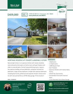 Three Bedroom/Two Full & One Half Bath Spacious Two Story Heritage Reserve at Fishers Landing Home on .14 Acre Corner Lot at: 17303 SE 30th St, Vancouver, Clark County, WA! Area 27. Listing Broker: Justin Underwood (360) 333-5706, John L Scott, Vancouver, WA! Real Estate Now for Sale at $409,000. RMLS # 20389059. #RealEstate #Vancouver #HeritageReserveAtFishersLanding #TwoStory #ThreeBedroom #CornerLot #JustinUnderwood #JohnLScott