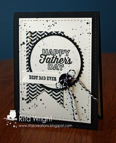 handmade card ... Happy Father's Day by kyann22 ... black and white .... like the layout design that could easily be used with other sentiments ... luv the ink splats all over and the button with baker's twine book ... luv it!