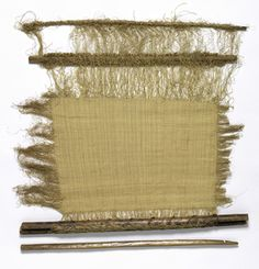 Africa | DR of Congo | Loom with unfinished work in woven raffia | wood, raffia palm fiber technique: plain weave label |H x W: 91.4 x 96.5 cm (36 x 38 in.)