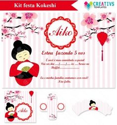 Festa Kokeshi vermelha mod:1006