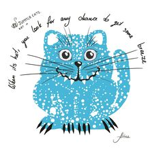 """KOT #21 from the 88 SUMMER CATS collection """"When it's hot, you look for any chance to get some breeze""""  #88summercats #art #print #kot #cat #catart #qoute #kotquote #smile #smilingcat #happycat"""