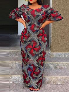Latest African Fashion Dresses, African Print Dresses, African Dresses For Women, African Print Fashion, African Attire, Bodycon Dress With Sleeves, Ankara Dress, Lady, Quarter Sleeve