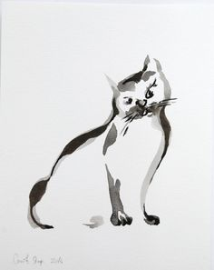 Cat Ink Drawing  Original Ink Drawing Art  Minimalist by CanotStop