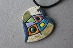 Unique handmade ceramic necklace by VIPArts on Etsy