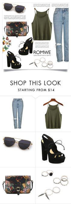 """""""ROMWE"""" by esma-373 ❤ liked on Polyvore featuring Topshop, Oris and Schutz"""