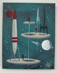 EL GATO GOMEZ PAINTING RETRO 1950S  VINTAGE OUTER SPACE SHIP SCI-FI ROBOT ROCKET #Modernism