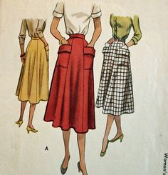 Vintage 1950s Sewing Pattern McCall 8494 Misses' Skirt