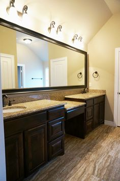 large on suite master bathroom, double vanity, framed mirror, custom countertops and cabinets #mcbeehomes