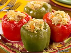 Cheesy Chicken Salad Stuffed Peppers | mrfood.com