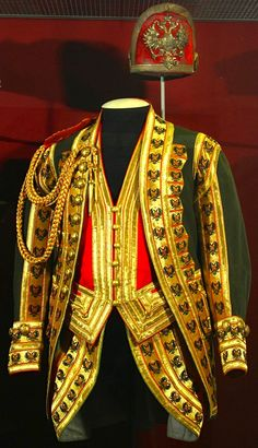 A complete Tsar Nicholas II era uniform of the Royal Palace Messenger in the collection of the Russian State Hermitage Museum.