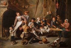 Williem Van Herp ( 1614 - 1677 )- Interior con jugadores de cartas - Colección Privada