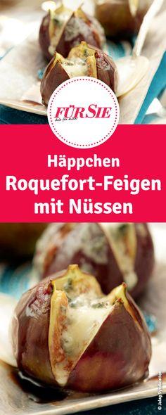 Häppchen Roquefort-Feigen mit Nüssen - Finger Food für Silvester Party und Co.