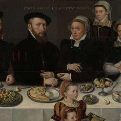 Pierre de Moucheron (1508-67). Koopman te Middelburg en Antwerpen, zijn echtgenote Isabeau de Gerbier, hun achttien kinderen, hun schoonzoon Allard de la Dale en hun eerste kleinkind, anoniem, 1563 - Rijksmuseum