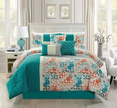 Modern 7 Piece Quilted Bedding Turquoise Blue / Beige / Orange QUEEN Patch Work Comforter Set with accent pillows ~ Luxury Home Decor ~ Olivia Decor - decor for your home and office. Turquoise Comforter, Queen Comforter Sets, King Comforter, Duvet, Quilt Bedding, Urban Outfitters, Queen Size Bed Covers, Shabby, Scrappy Quilts